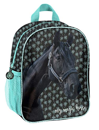 Horse Fan Backpack for Boys and Girls with Main Compartment and Drinks Net Various Designs Black Black/Blue (19kn) 28 x 22 x 10 cm