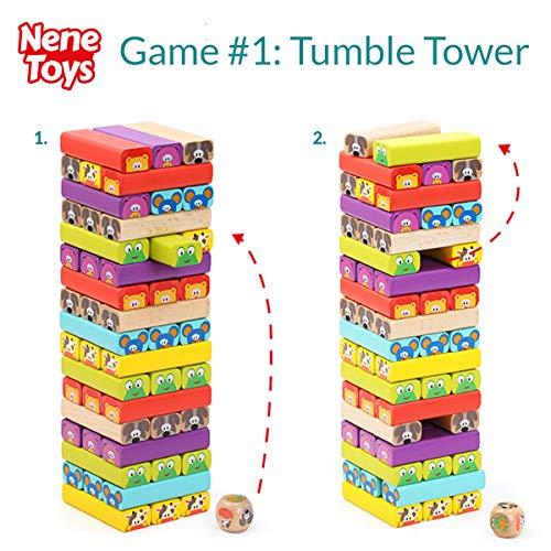 Nene Toys - Torre de Bloques de Madera 4 en 1 con Colores y ...