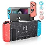 Switch Case Compatible with Nintendo Switch, Dockable Case Switch Cover for Girls Boys Switch Cases Cover PC Clear Case & TPU Joy-Con Protective Cover with 4 Pcs Thumb Caps Switch Crystal Glitter Case