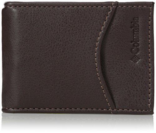 Columbia Men's Leather Front Pocket Wallet Card Holder for Travel, Merino Brown, One Size