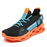 TSIODFO Women Sport Running Sneakers Mesh Breathable Comfort Ladies Gym Tennis Athletic Walking Shoes Jogging Trainers Black Orange Size 9