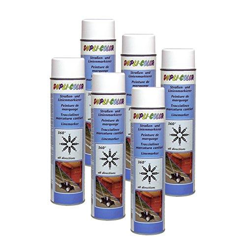 DUPLI_bundle 6X Dupli-Color Linien Straßenmarkierer dauerhaft Spray weiß 600 ml 895173