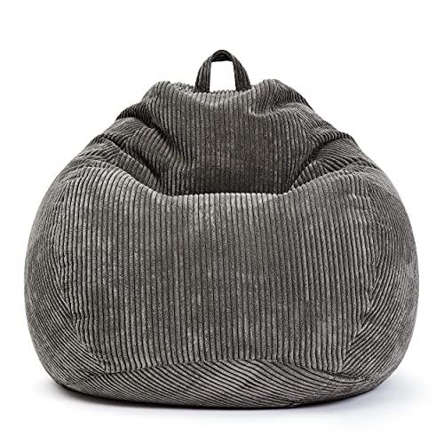 Green Bean © Scoop Indoor Sitzsack 90 x 110 cm - EPS-Perlen Kügelchen Füllung - Cord - kuschelig, weich, robust - waschbar - Beanbag, Lounge Chair, Liege - Grau
