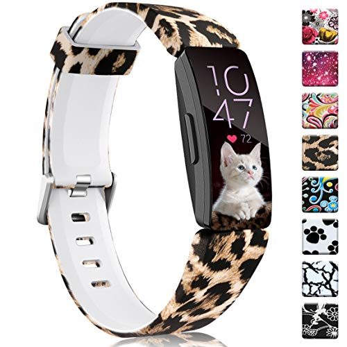 Maledan Bands Compatible with Fitbit Inspire HR/Inspire and Ace 2, Fadeless Pattern Printed Strap Band Replacement for Inspire HR Fitness Tracker and Ace 2, Leopard Small