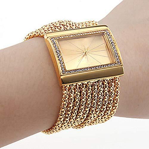 Damen Strass Uhr Luxus Mode Armband Analog Quarzuhr Platz Kristall Damenuhr Großes Gesicht Großes Zifferblatt Breitband Manschette Uhr,Ordinarygold