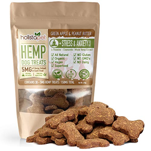 HolistaPet Hemp Dog Treats - Stress & Anxiety Relief - 30 Crunchy Treats - 150mg - Made in USA - Calming Hemp Oil Treats for Dogs - Separation - Aggressive Behavior - Loud Noises - Thunder