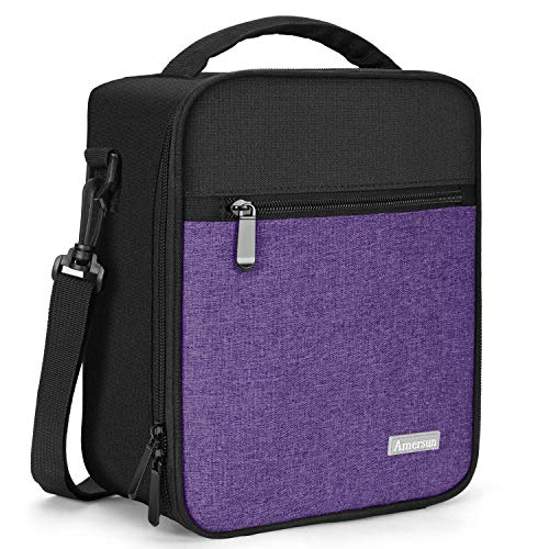 Lunch Box with Solid Padded Liner,Amersun Spacious Insulated School Lunch Bag Durable Thermal Lunch Cooler Pack with Strap for Boys Men Women Girls Adult Camp Beach,2 Pockets(Black Purple)