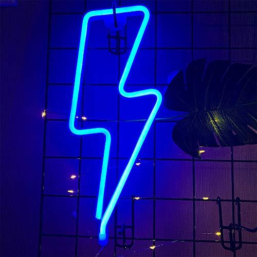 ENUOLI Lightning Bolt della luce al neon blu al neon segni della luce al neon si illumina per le pareti USB/Night Lights Neon Lights Luci al neon alimentati a batteria lampo del LED fino segni per