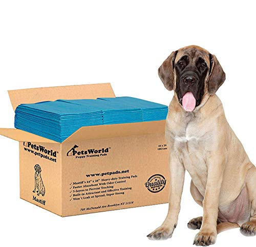 PETSWORLD Mastiff's Massive Training Giant Pads, 28x44 inch, 100 Ct, XXXL Gigantic, Tear Resistant, Extremely Strong Leak-Proof