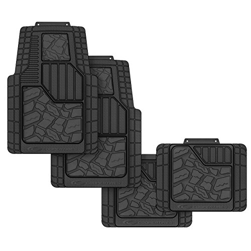 Cooper Tires Discoverer STT Pro All Weather Rubber Floor Mat, 4-Piece, Tire Tread Design, Trim-To-Fit, Heavy Duty, Waterproof, Fit For Most Cars, Trucks, SUVs and Vans (black)
