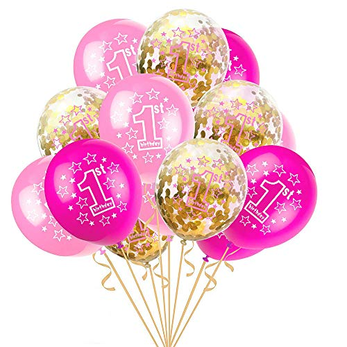 15 Piezas 1er Cumpleaños Bebe Globos, Globos Confeti Decoraciones Fiesta Cumpleaños, Decoración de Fiesta de Cumpleaños Rosado Niños, para Boda, Baby Shower, Primer Aniversario (Rosado)