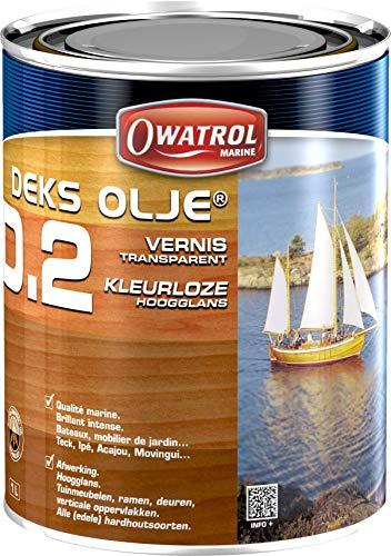 OWATROL – D2 – 1 L – Hochglanz-Klarlack-Öl für tropisches Holz Hartholz neu und alt im Außenbereich für Türen Holzverkleidungen Fenster Gartenmöbel Tore Boote – Klarlack-Öl für Holz im Marinebereich