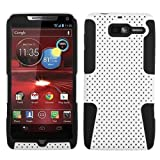 AZ COVER - 2 Layer Protector Cover Mesh Case for Motorola Droid RAZR M XT907 - Black/White + 1 Touchscreen Stylus Pen + 2 Pack of Clear Screen Protectors