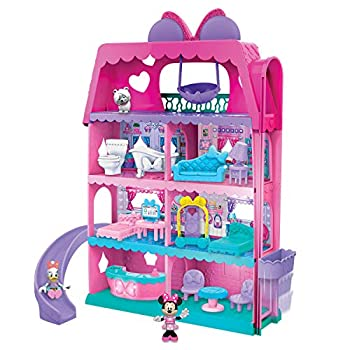 Minnie Mouse Bow-Tel Hotel 2-Sided Playset with Lights Sounds and Elevator 20 Pieces Includes Minnie Mouse Daisy Duck and Snowpuff Figures by Just Play