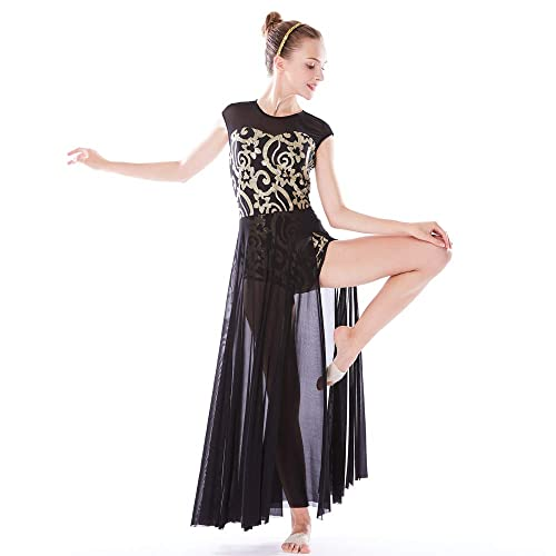 37979b9ec0694 MiDee Lyrical Dress Dance Costume 4 Colors Floral Sequin Tank Leotard Maxi  Skirt