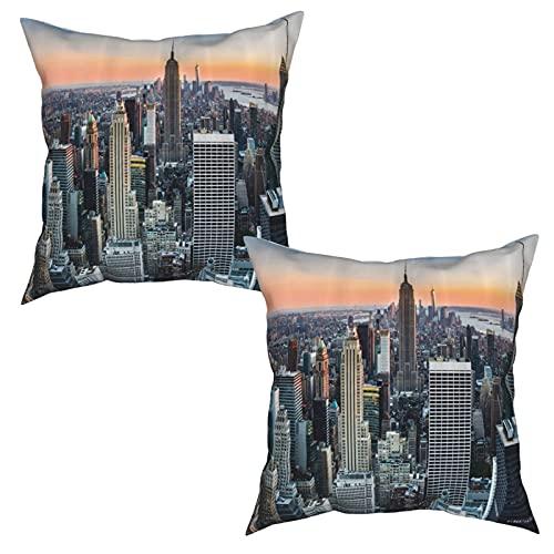 Confezione da 2 fodere per cuscini federe,Paesaggio di tramonto artistico contemporaneo di New York City Skyline di,quadrati Cuscino semplice Decorazioni per la casa Divano letto Sedia (45x45cm)x2