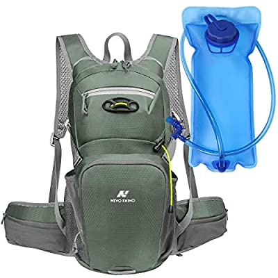 N NEVO RHINO Hydration Backpack, with 2L Leakproof Water Bladder - Hydration Packs with Storage, Lightweight and Comfortable for Cycling and Skiing (Grey)