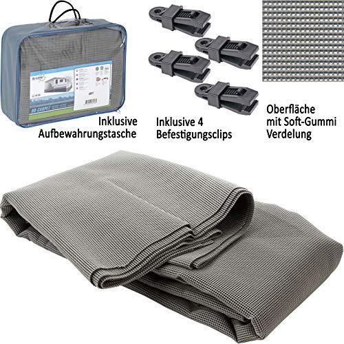 Bocamp Vorzeltteppich Soft 250x400 - ZUSCHNEIDBAR - ohne Ausfransen - formfest - weich - grau - leicht - waschbar - mit Aufbewahrungstasche und Befestigungs Clips - Camping Wohnwagenteppich Zelt