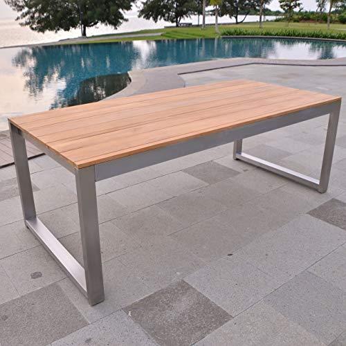 Esstisch Baitone Edelstahl Teak Massivholz Tischplatte 220 x 100 cm