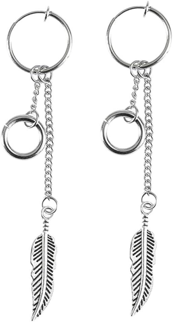 #N/A Feathers Leaf Chain Tassel Stainless Steel Dangle Earring