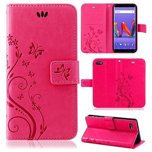 betterfon | Wiko Harry 2 Hülle Flower Case Handytasche Schutzhülle Blumen Klapptasche Handyhülle Handy Schale für Wiko Harry 2 Pink