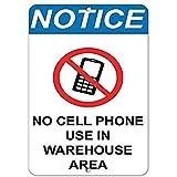 HUIOP Aviso de carretera No uso de teléfono celular en el área de almacén Negocio Original Vintage Diseño Bar Reglas de estaño Metal Wall Art Signage 8x12 pulgadas