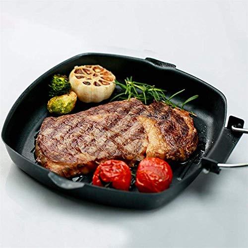 Antihaft-Bratpfanne mit Klappgriff Rindfleisch-Grillpfannen Pfannkuchenpfanne aus Kohlenstoffstahl Pfannenpfanne Gaskocher Küchengeschirr, 20 cm
