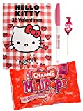 Hello Kitty 32 Valentine Cards with Charms Lollipops MiniPops and Happy Valentines Pen Classroom Exchange Bundle For Kids