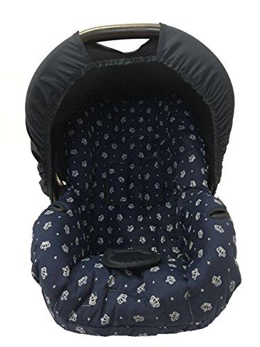 Capa para Bebe Conforto Coroa, Multimarcas sem Bordado, Alan Pierre Baby, Marinho/Branco