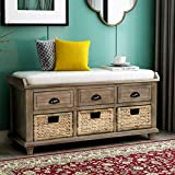 Rustic Storage Entryway Bench with 3 Drawers and Rattan Baskets, Solid Wood Shoe Storage Bench with Removable Cushion for Living Room, Entryway, Easy to Assemble (White Washed)