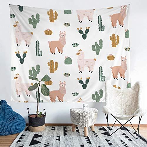 Llama - Manta de pared de alpaca para colgar en la pared, diseño de cactus, para niños, niñas, bohemio, suculenta, microfibra, manta de cama con temática de animales 3D, tamaño grande, 122 x 79 cm