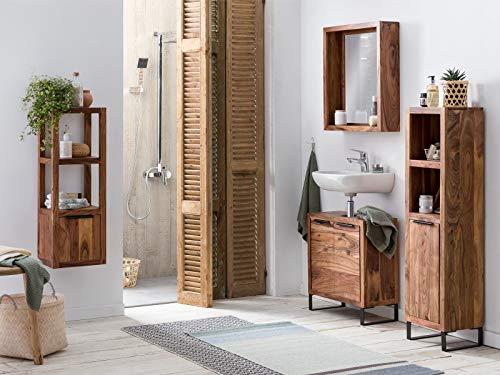 Woodkings® Badmöbel Set Sydney 4teilig, massiv Holz, Badezimmer Schränke schmal, für kleines Bad, Hochschrank Regal Waschbeckenunterschrank Spiegel, Metallfuß, auch hängend möglich (Akazie hell)
