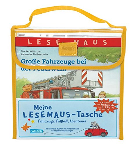 Meine Lesemaus-Tasche – Fahrzeuge, Fußball, Abenteuer: Kindertasche mit 4 Lesemaus-Büchern und Stickerbogen