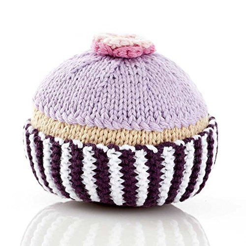 Pebble Fair Trade, Hand Made Rattle - Cupcake with Lilac Icing and Flower