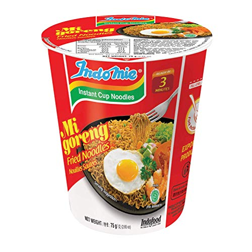 Indomie CUP NOODLES Fried Noodles 100%HALAL Mi Goreng 75g (2.6oz), Pack of 12