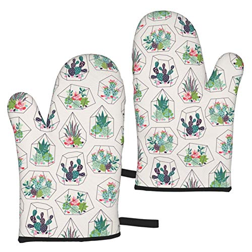 Cactus with Succulents Oven Mitts Waterproof Non-Slip Heat Resistant Kitchen Gloves for Baking...