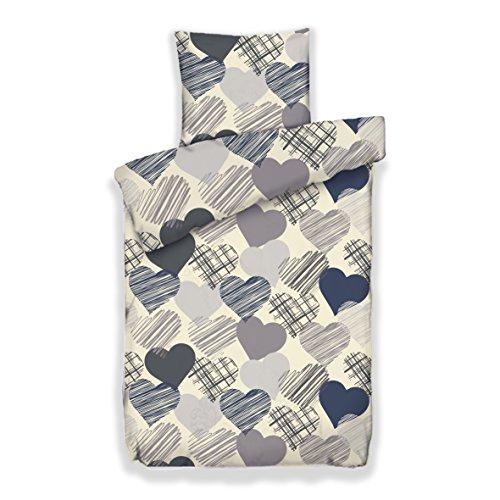Pöller Bettwäsche Herz Blatt ca.135x200 und 80x80 cm Farbe Navy-grau Garnitur mit Herzen