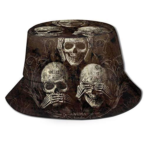 TYUO Sombrero de pescador No Evil Escuchar See Speak Skull Sun Bucket Sombreros de pesca al aire libre senderismo Negro