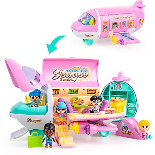 iPlay, iLearn Airplane Doll Playset, Pretend Play Doll House Set, Pink Dream Jet...