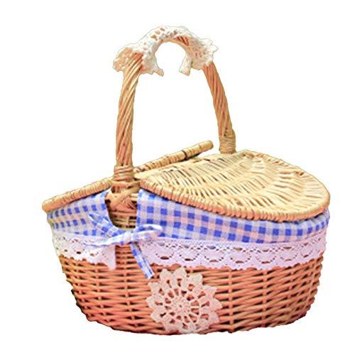 Ynnixa 1 Stuk Outdoor Picknick Mand Handgemaakte Geweven Rieten Picknick Mand Blauw Gingham Gevoerd Thuis Opbergmandje
