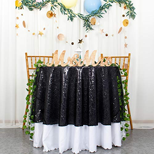 Mantel redondo de 180 cm, con lentejuelas, color negro, para mesa circular, centelleo, decoración de estrellas pequeñas, 182 cm, mantel redondo con lentejuelas para Halloween