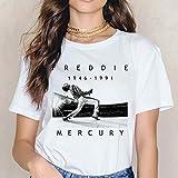 フレディ・マーキュリーTシャツ女王バンドグラフィックTシャツの女性は美的服夏カジュアル半袖原宿 (XXXXL)