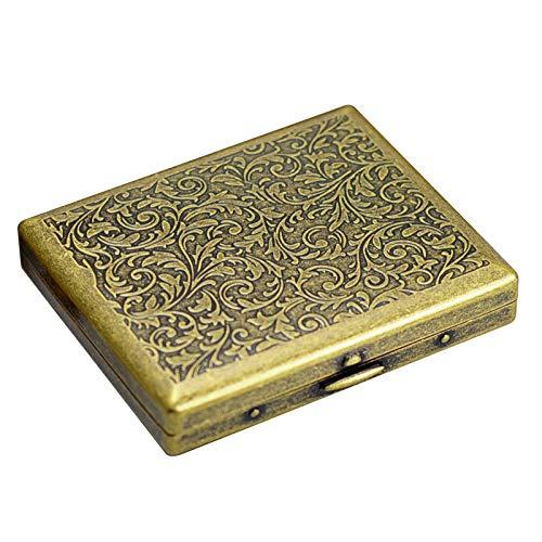 Caja de regalo de metal bronce y caja de cigarrillos antipolvo, caja de cigarrillos para hombre, estilo europeo clásico ultrafino