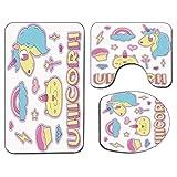 3Pcs Alfombra de baño antideslizante Juego de tapa de tapa de asiento de inodoro Unicorn Cat Colección de alfombra de baño antideslizante suave Iconos fantásticos Magic Horse Kitten Cupcake Rainbow De