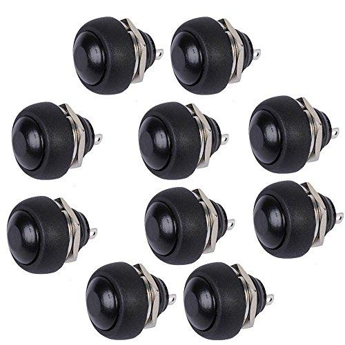 Mintice 10 X Interrupteur Bouton Poussoir Rond 12mm Noir pour Voiture Automobile Bateau Lot de momentané Moto
