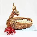 Creative Wicker Bread Basket, Fruit Bowls, Food Basket, Cute Animal-Shaped Wicker Tray Storage Basket, Home Table Snack Rattan Woven Basket Wicker Basket (Brown Deer)
