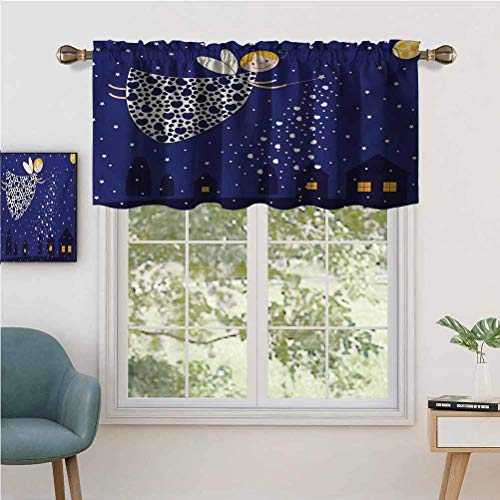 Hiiiman Sunshine Blockout Valance Curtain Girls Kids Cartoon Cute Fairy in Sky Casting Magic, Set of 2, 54'x24' for Indoor Living Dining Room