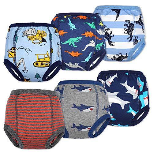 Lot de 6 Pantalons d'entraînement pour bébé sous-vêtements d'entraînement pour Enfants Pantalon d'entraînement pour Pot sous-vêtements pour bébé pour garçon et Fille 12M-5 Ans