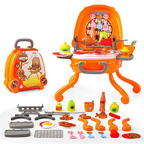 Tuuertge-JJ Kayak Pretend Play Ice Cream Pizza BBQ Hamburger Food BBQ Hot Dog Fish Meat Cart Trolley Kitchen Cooking Set Toy with Music and Lighting Rafting Kayak