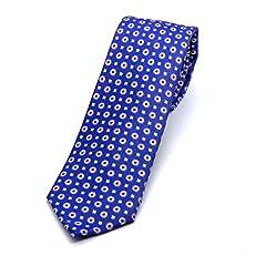 Idea Regalo - PB Pietro Baldini Cravatta blu 100% seta – Cravatta fatta a mano - Cravatta 150 * 7 cm (blu con rosa combinato)